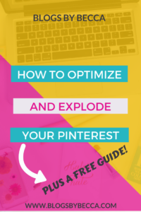 How to Set up, Optimize, and Explode Your Pinterest Account. Social media tips and tricks for beginners or advanced bloggers! Grow your Pinterest, get more followers, get more traffic, more clicks, and more repins!