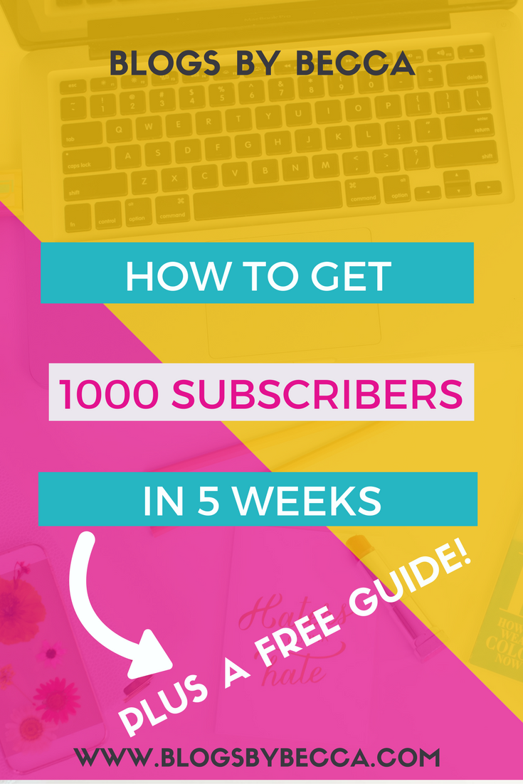 How to Get 1000 Subscribers in 5 Weeks. Grow your list and get more followers on your blog. For beginner bloggers or advanced. Tips and tricks to grow your list!